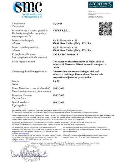 ISO 9001-2015 NEFER S.R.L001