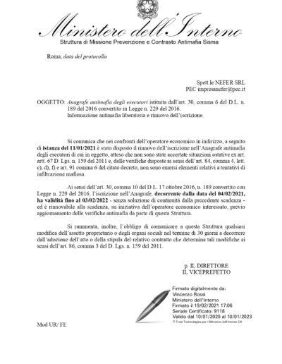 Certificato Antimafia NEFER 2021
